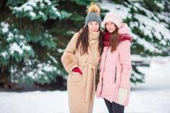 Молодые подруги outdoors на красивый день снега зимы Стоковая Фотография RF