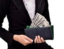 Молодые предприниматели приносят серии долларов в вашем бумажнике Стоковые Изображения RF