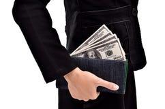 Молодые предприниматели приносят серии долларов в вашем бумажнике Стоковая Фотография RF