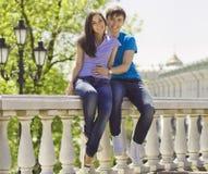 Молодые романтичные пары сидя в парке Стоковая Фотография