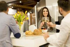 Молодые друзья имея обедающий дома и провозглашать с белым вином Стоковая Фотография RF