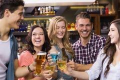 Молодые друзья имея питье совместно Стоковые Фотографии RF