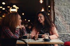 Молодые друзья сидя в кафе и говорить Стоковые Фотографии RF