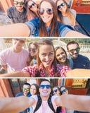 Молодые друзья усмехаясь и принимая selfie в городке стоковые изображения rf
