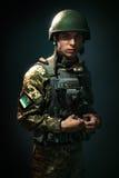Молодые солдаты украинской армии Стоковые Изображения