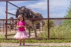 Молодые счастливые усмехаясь девушки ребенка подавая страус эму на ферме птицы Стоковые Фото