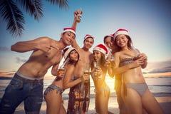 Молодые счастливые люди на пляже имея рождественскую вечеринку стоковое изображение rf