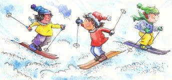 Молодые лыжники Стоковое Изображение