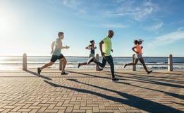 Молодые люди бежать вдоль взморья стоковые изображения rf