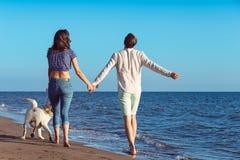 2 молодые люди бежать на пляже целуя и держа туго с собакой Стоковая Фотография