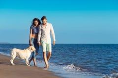 2 молодые люди бежать на пляже целуя и держа туго с собакой Стоковая Фотография RF