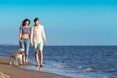 2 молодые люди бежать на пляже целуя и держа туго с собакой Стоковое Фото