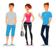 Молодые люди в вскользь одеждах бесплатная иллюстрация