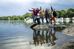 Молодые люди идя вокруг Стокгольма, Швеции Стоковое Изображение RF