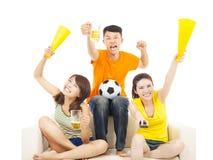 Молодые люди крича для того чтобы ободрить их выигрыш команды Стоковые Фото