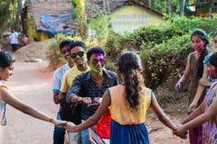Молодые люди на мопеде Индии Стоковая Фотография RF