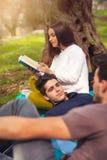 3 молодые люди на пикнике под оливковыми деревами Стоковое фото RF