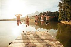 Молодые люди скача от пристани в озеро совместно стоковая фотография