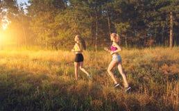 Молодые sporty девушки бежать на поле Стоковые Изображения RF