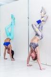 Молодые sporty женщины делая тренировку handstand Атлетические девушки стоя в предварительном дереве вниз-облицовки представляют  Стоковая Фотография RF