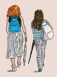 Молодые townswomen идут на прогулку иллюстрация штока