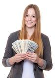 Молодые woan держа примечания доллара США Стоковые Фотографии RF