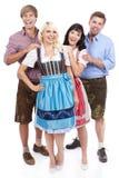 4 молодых баварских люд Стоковые Фотографии RF