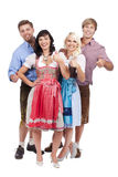 4 молодых баварских люд Стоковая Фотография