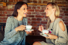 2 молодых женских друз злословя в баре Стоковые Изображения