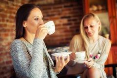 2 молодых женских друз злословя в баре Стоковое Изображение