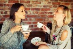 2 молодых женских друз злословя в баре Стоковая Фотография RF