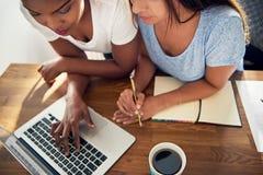 2 молодых коллеги дела работая на компьтер-книжке Стоковая Фотография RF