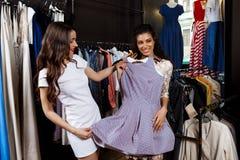2 молодых красивых девушки делая покупки в моле Стоковое Изображение RF