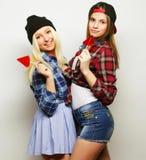 2 молодых милых девушки битника Стоковое Фото