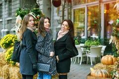 3 молодых милых девушки имея потеху совместно на прогулке города Образ жизни Стоковое Изображение RF