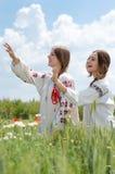 2 молодых счастливых девушки в традиционном украинском платье в пшеничном поле Стоковое Изображение RF