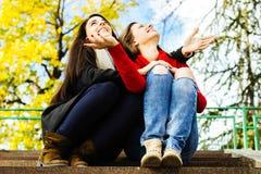 2 молодых усмехаясь друз сидя на лестницах Стоковая Фотография