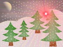 Молчаливая ноча в зиме Стоковое Изображение