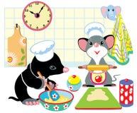 Моль и мышь подготавливая тесто бесплатная иллюстрация