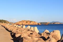 Моль и Средиземное море на порталах Puerto гавани в порталах Nous на Майорке Стоковые Фотографии RF