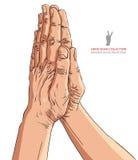 Моля руки, детальная иллюстрация вектора Стоковые Фото