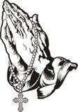 Моля руки с татуировкой розария Стоковые Фото