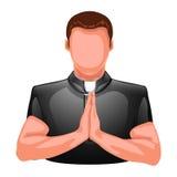Моля силуэт священника Стоковое Изображение