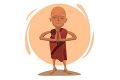 Моля тибетский монах Иллюстрация штока