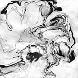 Мраморизованная черно-белая абстрактная предпосылка Жидкостное мраморное Illistration Стоковое фото RF