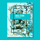 Мраморизованное золото и голубая абстрактная предпосылка Жидкостная мраморная картина Текстура жидкости вектора Дизайн шаблона де бесплатная иллюстрация