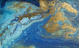 Мраморная абстрактная акриловая предпосылка Голубая мраморизуя текстура художественного произведения Картина пульсации агата Поро стоковое изображение rf