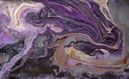 Мраморная абстрактная акриловая предпосылка Мраморизуя текстура художественного произведения Картина пульсации агата Порошок золо стоковые изображения