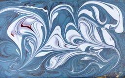 Мраморная абстрактная акриловая предпосылка Текстура художественного произведения природы голубая мраморизуя золото яркия блеска Стоковое фото RF