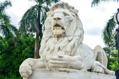 Мраморная статуя льва на входе к Виктории мемориальному Hall Стоковая Фотография